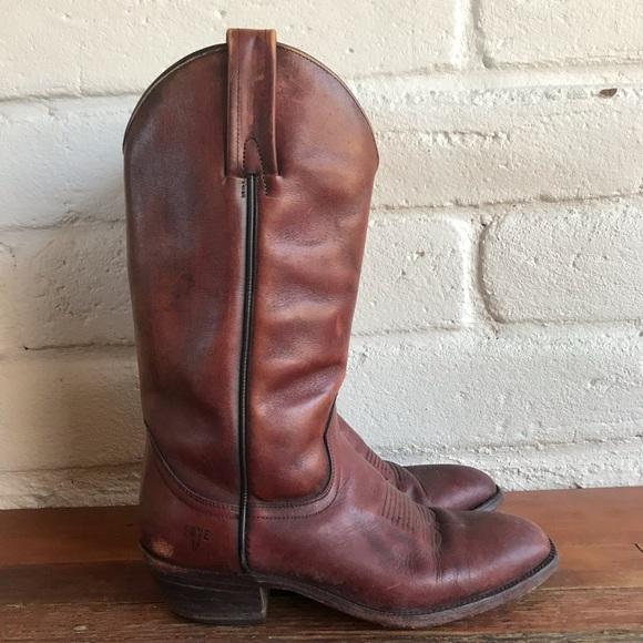 f9c58a66a5d6f Frye Vintage Men's Western Cowboy Boots Mahogany